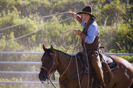carson ganci: Cowboy with lasso Stock Photo