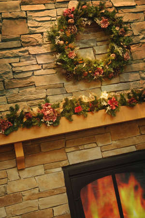 A Christmas mantle