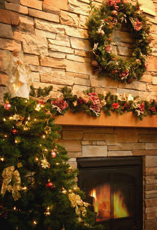 hearth and home: A festive room Stock Photo