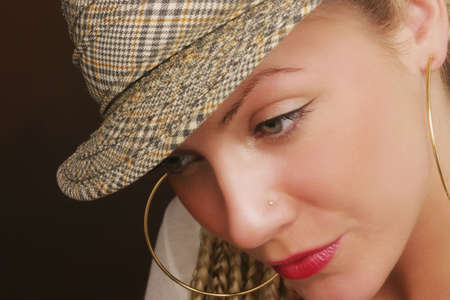 nose ring: Portrait of woman Stock Photo