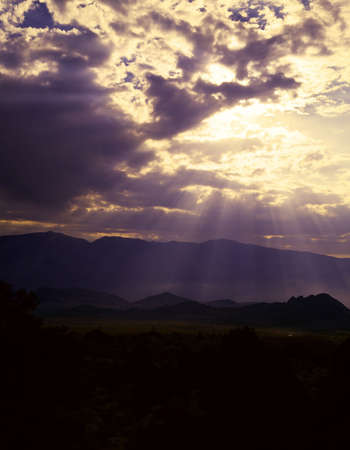 owens valley: Sun rays shine down from a cloud, Owens Valley