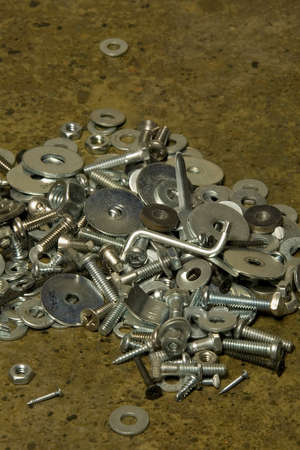 fundamentals: A heap of nuts & bolts Stock Photo