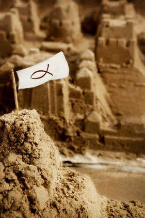 sandcastles: Sandcastle with flag
