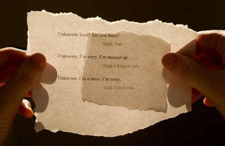 perdonar: Mensaje de Dios  Foto de archivo