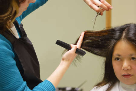 Woman getting a haircut Stock Photo - 6216459