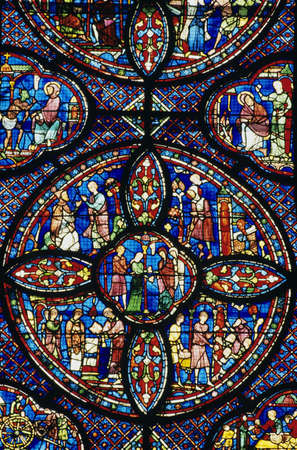 Stained glass window in Chartres Cathedral Stok Fotoğraf - 5706264