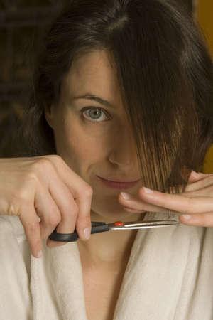 Woman cutting hair