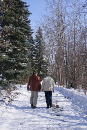 Senior couple walking in the winter Stock Photo