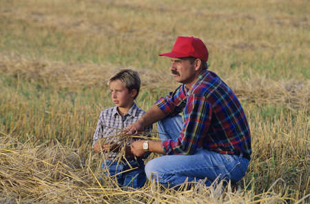 Farmer and son in field Banque d'images