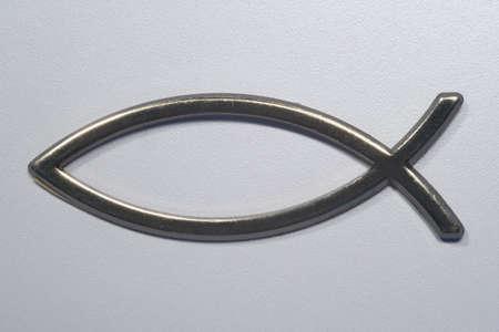 pez cristiano: S�mbolo de pescado de Jes�s  Foto de archivo