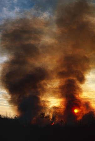 Sunset behind columns of smoke