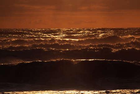 ocean waves: Ocean waves at sunset