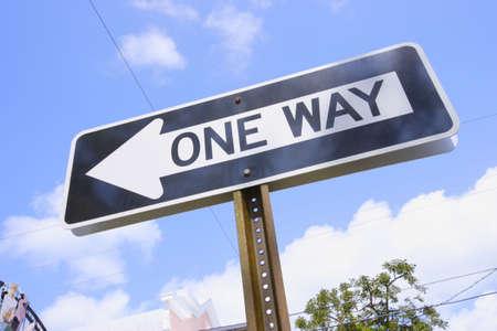 One way street sign photo