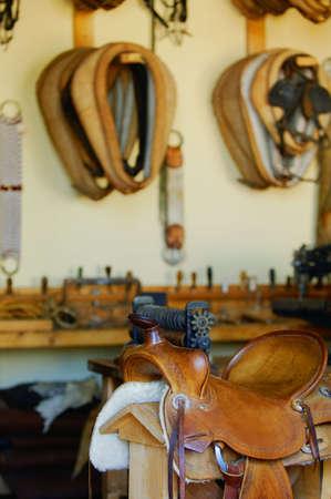 tacks: Tack and Saddle Shop Stock Photo