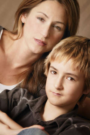 single parent: Portrait of mother and son Stock Photo