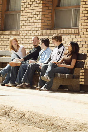glubish: Friends talking on a bench