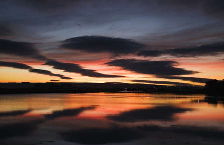 Dungarvan, Co Waterford, Ireland; Sunset over the water