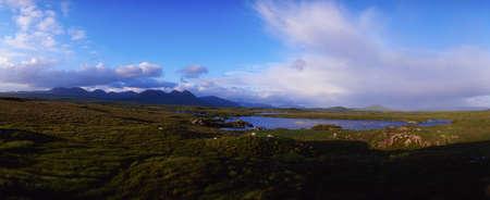 Co Galway, Connemara, bog with the Twelve Bens in the distance, Ireland Stock Photo - 7188167