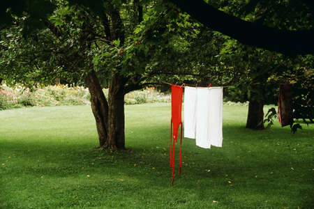 Laundry drying on line outdoors, Waterloo, Quebec, Canada