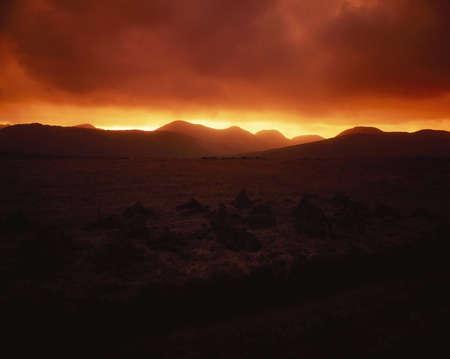 connemara: Maumturk Mountains near Leenaun, Connemara, Co Galway, Ireland Stock Photo