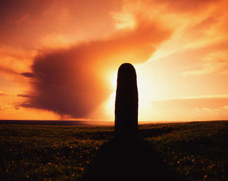 past civilizations: Lia Fail Standing Stone, Hill of Tara, County Meath, Ireland