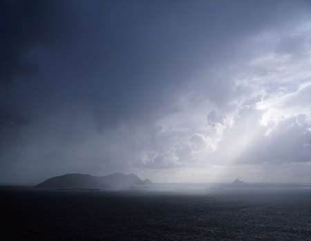 co  kerry: Rainclouds over Blasket Islands, Co Kerry, Ireland
