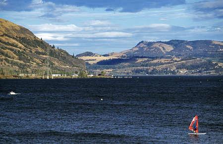 windsurfers: Clarkston, Idaho, USA; Man windsurfing down a river