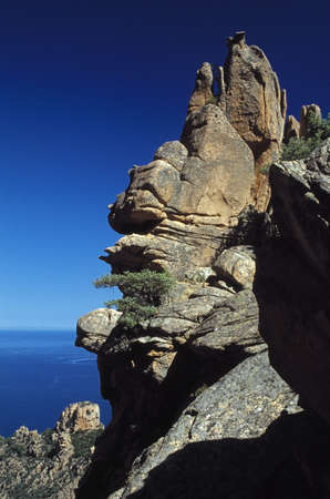 rock formation: Corsica, France; Rock formation on a mountain above the sea