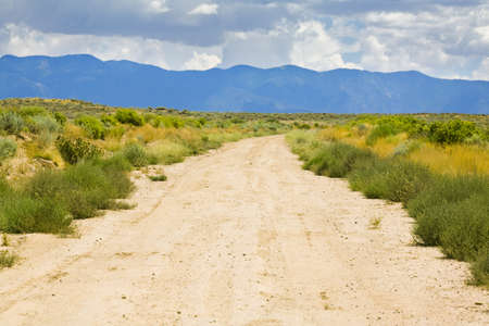 New Mexico, USA; Desert trail with mountains in the distance