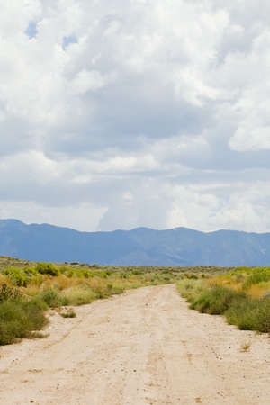 raniszewski: New Mexico, USA; Desert trail with mountains in the distance