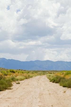 raniszewski: New Mexico, USA; Desert trail with mountains in the distance