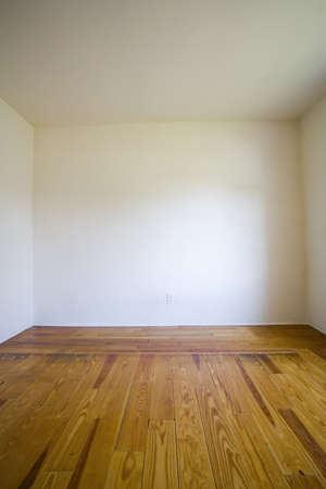 empty: Empty room with wooden floors and white walls