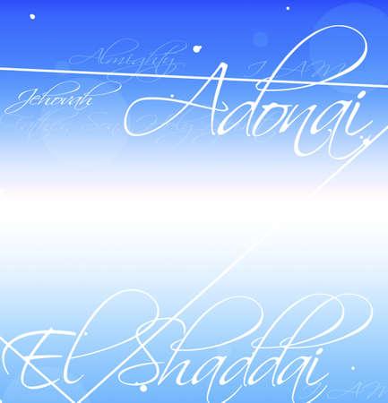 knorr: Decorative writing of names for God (Adonai, El Shaddai, Jehovah)