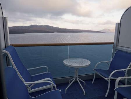 levit: Table and chairs, Santorini, Greece Stock Photo