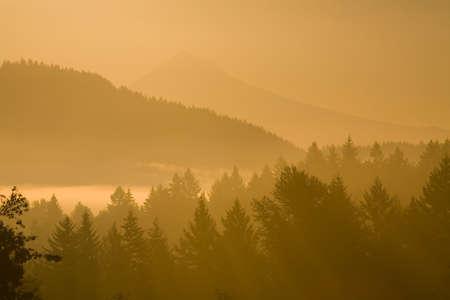 mount hood: Mount Hood, Oregon, USA; Silhouetted landscape at sunrise