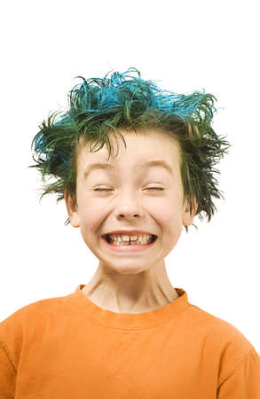 mess: Boy with blue hair Stock Photo