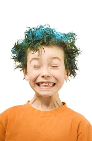 spiky: Boy with blue hair Stock Photo