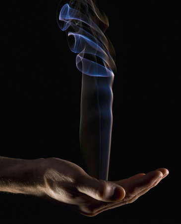 bodypart: Smoke rising from a hand