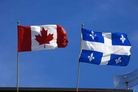 Quebec and Canada flags photo