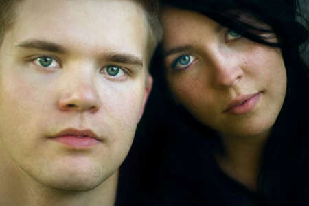 eyecontact: A young adult couple Stock Photo