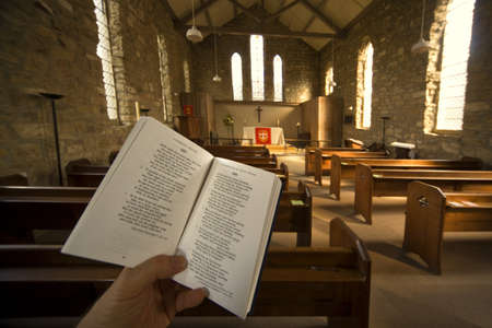 hymn: Prayer book in church, Rosedale, North Yorkshire, England