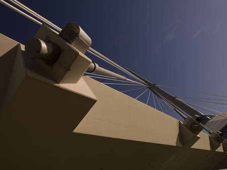 footbridge: Underview of pedestrian bridge, Esplanade Riel, Winnipeg, Manitoba, Canada Stock Photo