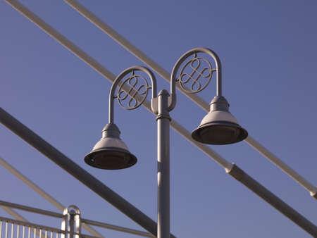 Lamp post on pedestrian bridge, Esplanade Riel, Winnipeg, Manitoba, Canada photo