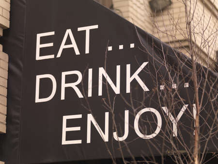 levit: Message on restaurant canopy, Toronto, Ontario, Canada Stock Photo