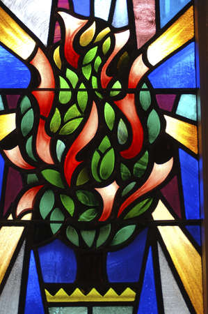 Stained glass window in synagogue photo