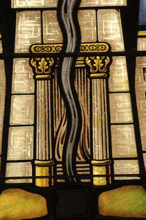 stained glass windows: Stained glass window in synagogue Stock Photo