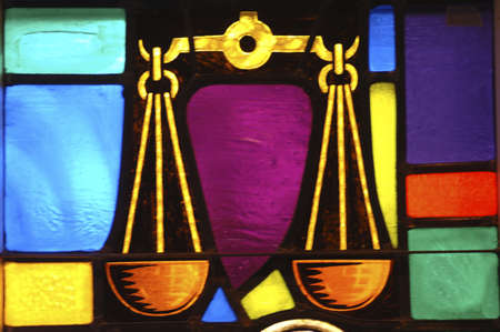 jewish: Stained glass window in synagogue Stock Photo