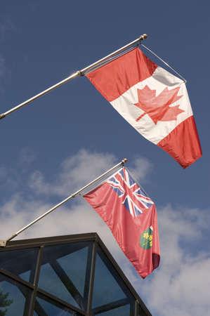 flagpoles: Canadian flag and Ontario flag, Muskoka, Ontario, Canada