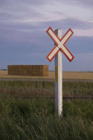 Railroad crossing sign, Manitoba, Canada Stock Photo - 7191145