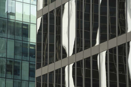 Detail of glass office towers, Vancouver, British Columbia, Canada